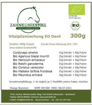 6x Vitalpilzmischung EO DENT 300g, ausreichend für etwa 12 Monate!